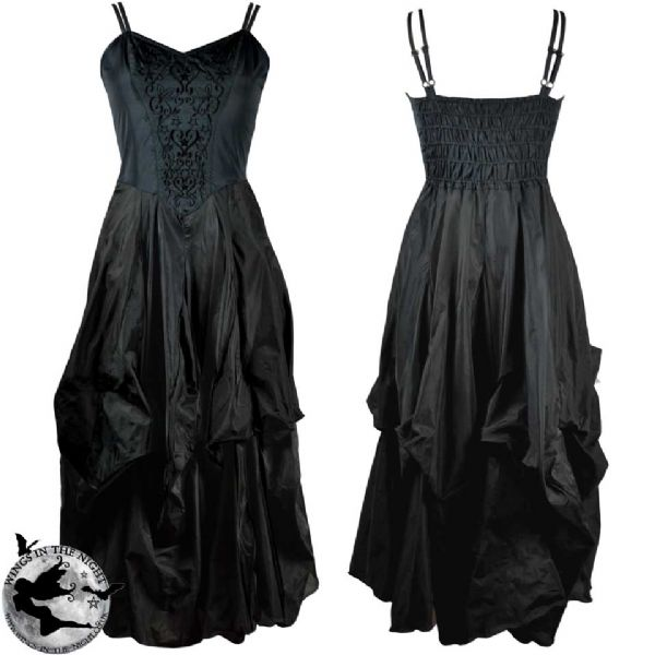 DARK STAR Gothic Black Long Ruched Dress